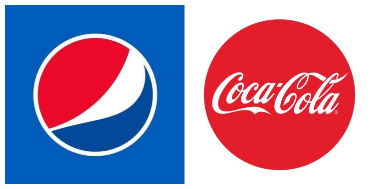 Photo montage des logo de Pepsi (à gauche) et Coca Cola (à droite)