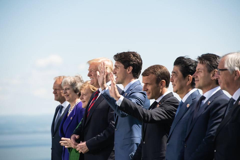 Les dirigeants lors du G7 au Canada avec Emmanuel Macron et Theresa May, entre autres