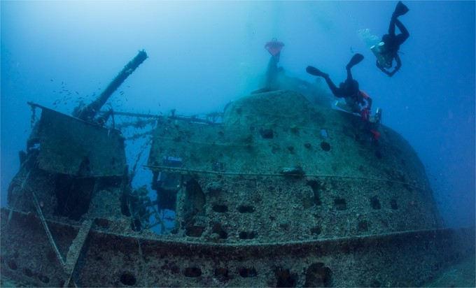 Le sous-marin britannique HMS Perseus au fond de la mer Ionienne (Photo Facebook de l'ONG Ghost Diving)