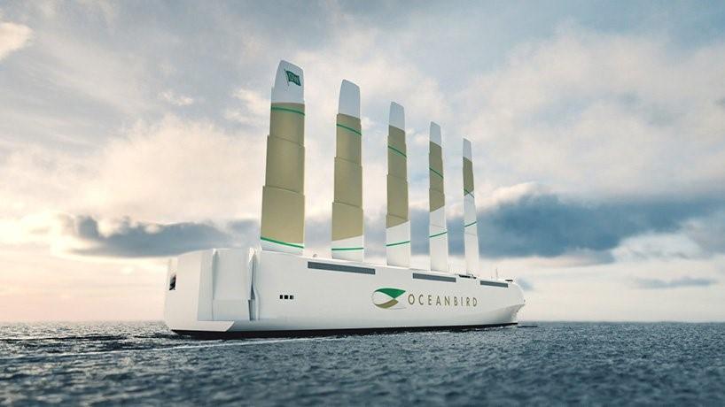 La société de conception suédoise Wallenius a dévoilé en septembre, Oceanbird, un cargo éolien qui prétend réduire les émissions de fret de 90%, tout en transportant jusqu'à 7000 voitures. Ce nouveau navire se présente comme le futur du transport maritime. (Photo : Wallenius)